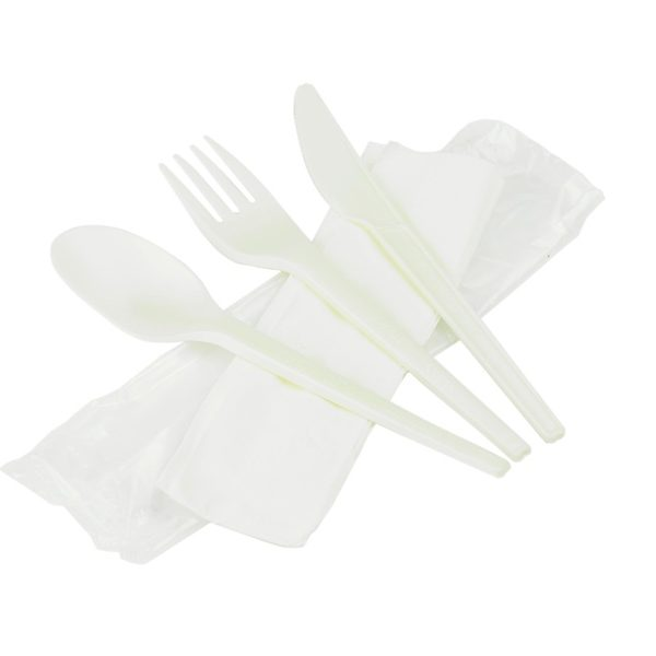 Compostable RCPLA cutlery kit (6.5in knife, fork, spoon & napkin in bio film)