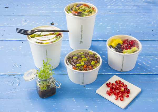 White eco soup containers