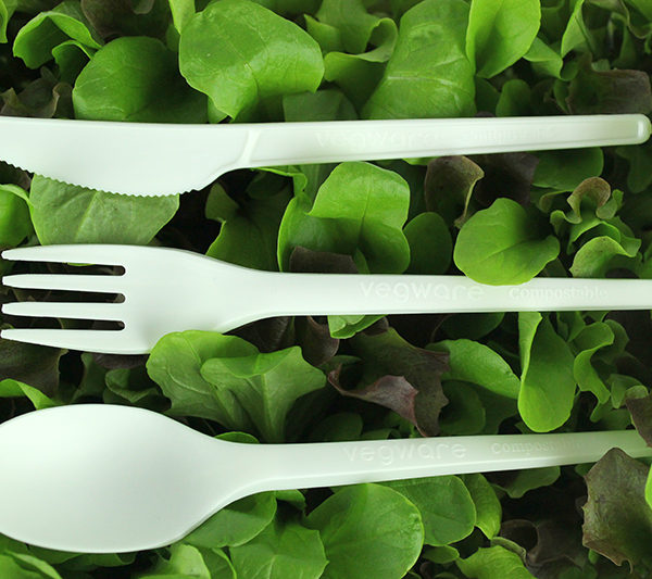 White Recycled PLA cutlery