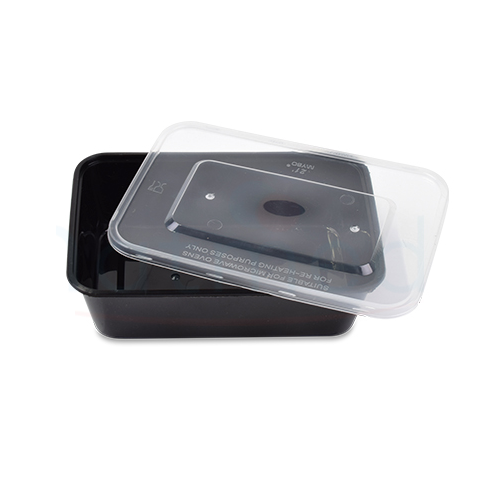 Plastic Microwave Container 750cc black & Lid combo